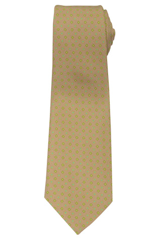 KITON Napoli Hand-Made Seven Fold Brown Small Square Madellion Silk Tie NEW