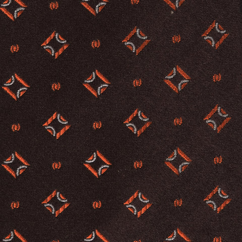KITON Napoli Hand-Made Seven Fold Brown Square Medallion Silk Tie NEW