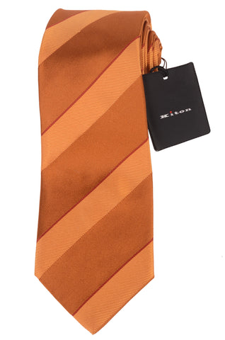 KITON Napoli Hand-Made Seven Fold Brown Striped Silk Tie NEW