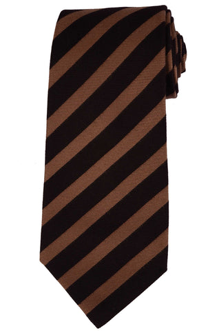 KITON Napoli Hand-Made Seven Fold Brown Striped Silk Tie NEW - SARTORIALE - 1