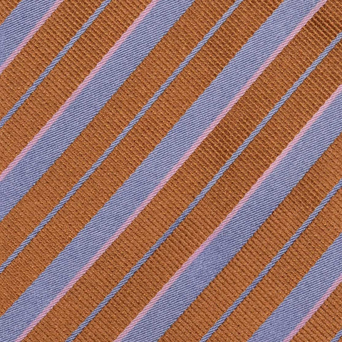KITON Napoli Hand-Made Seven Fold Brown Striped Silk Tie NEW - SARTORIALE - 4