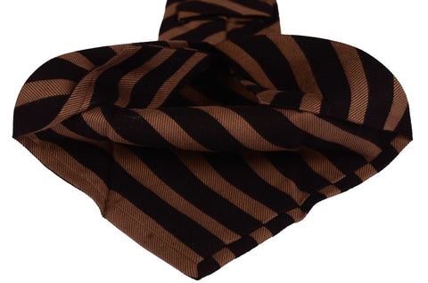 KITON Napoli Hand-Made Seven Fold Brown Striped Silk Tie NEW - SARTORIALE - 2