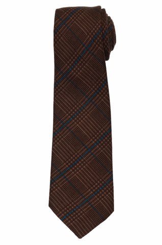 KITON Napoli Hand-Made Seven Fold Brown Wool-Silk Plaid Tie NEW