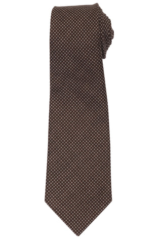 KITON Napoli Hand-Made Seven Fold Brown Wool-Silk Shepherd Check Tie NEW