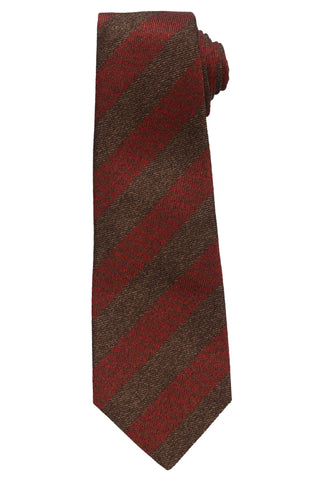 KITON Napoli Hand-Made Seven Fold Burgundy-Brown Herringbone Striped Silk Tie NE