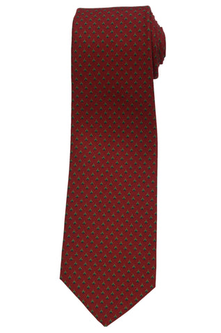 KITON Napoli Hand-Made Seven Fold Burgundy Floral Silk Tie NEW
