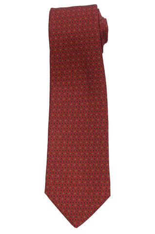 KITON Napoli Hand-Made Seven Fold Burgundy Printed Polka-Dot Silk Tie NEW