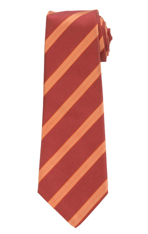 KITON Napoli Hand-Made Seven Fold Red Striped Silk Tie NEW