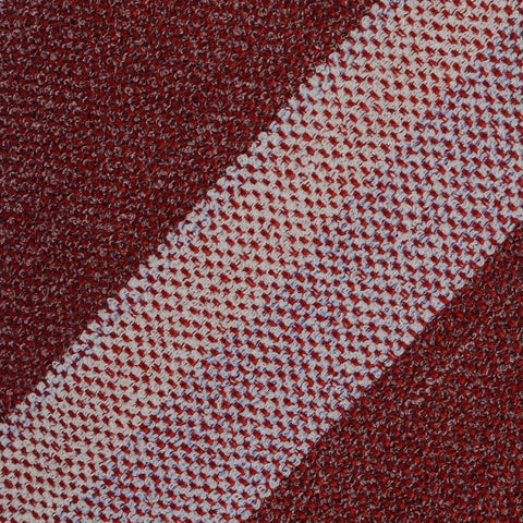 KITON Napoli Hand-Made Seven Fold Burgundy Striped Silk Tie NEW