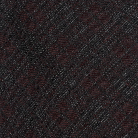 KITON Napoli Hand-Made Seven Fold Burgundy Textured Plaid Silk Tie NEW