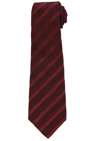 KITON Napoli Hand-Made Seven Fold Burgundy Textured Striped Silk Tie NEW