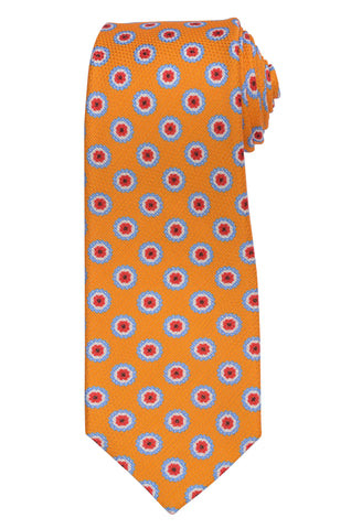 KITON Napoli Hand-Made Seven Fold Circle Medallion Plain Weave Silk Tie N
