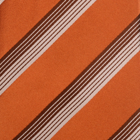 KITON Napoli Hand-Made Seven Fold Copper-Brown Striped Silk Tie NEW