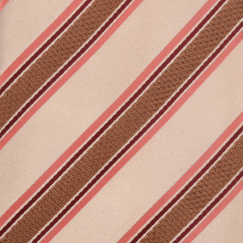 KITON Napoli Hand-Made Seven Fold Cream-Brown Striped Silk Tie NEW