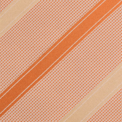 KITON Napoli Hand-Made Seven Fold Cream-Orange Striped Silk Tie NEW