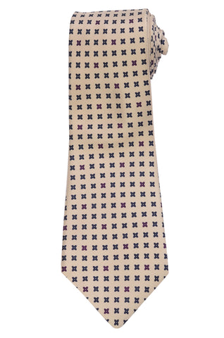 KITON Napoli Hand-Made Seven Fold Cream Floral Silk Tie NEW