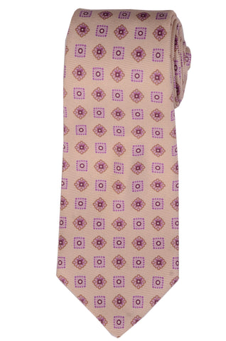 KITON Napoli Hand-Made Seven Fold Cream Square Medallion Silk Tie NEW - SARTORIALE - 1