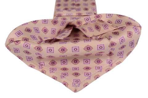 KITON Napoli Hand-Made Seven Fold Cream Square Medallion Silk Tie NEW - SARTORIALE - 2