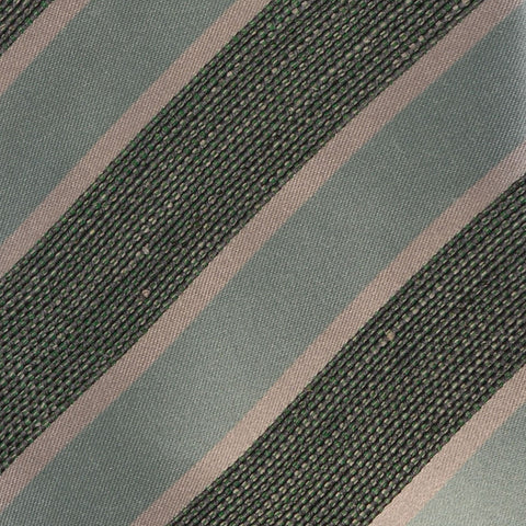 KITON Napoli Hand-Made Seven Fold Cyan-Green Repp Striped Silk Tie NEW - SARTORIALE - 4