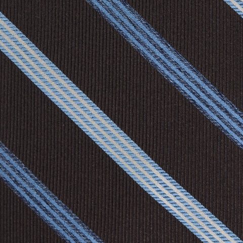 KITON Napoli Hand-Made Seven Fold Dark Brown Narrow-Striped Silk Tie NEW
