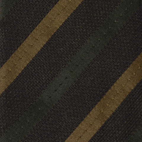 KITON Napoli Hand-Made Seven Fold Dark Green Striped Silk Tie NEW - SARTORIALE - 4