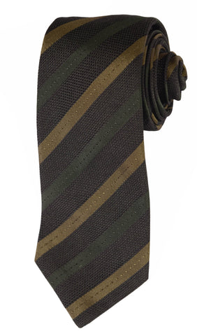 KITON Napoli Hand-Made Seven Fold Dark Green Striped Silk Tie NEW - SARTORIALE - 1