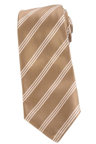 KITON Napoli Hand-Made Seven Fold Gold Diagonal Striped Silk Tie NEW - SARTORIALE - 1