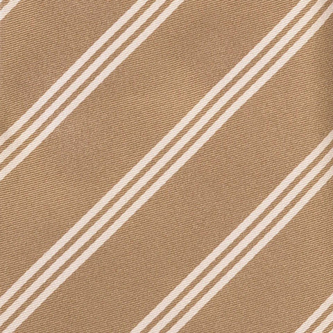 KITON Napoli Hand-Made Seven Fold Gold Diagonal Striped Silk Tie NEW - SARTORIALE - 4