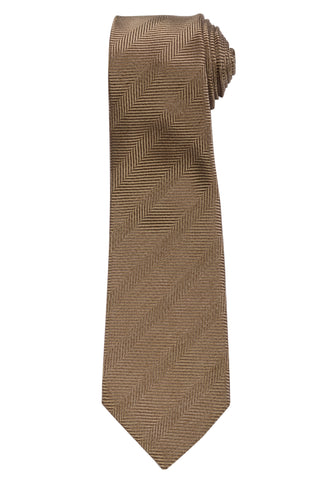 KITON Napoli Hand-Made Seven Fold Sand Beige Herringbone Striped Silk Tie NEW