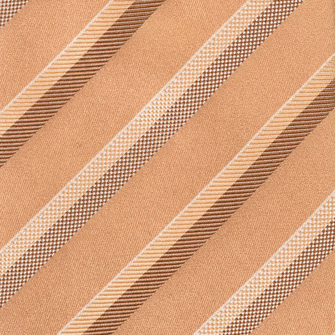 KITON Napoli Hand-Made Seven Fold Gold Repp Striped Silk Tie NEW - SARTORIALE - 4