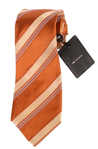 KITON Napoli Hand-Made Seven Fold Golden-Beige Striped Silk Tie NEW