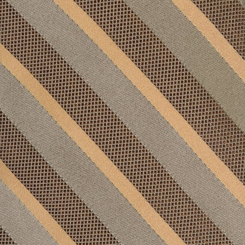 KITON Napoli Hand-Made Seven Fold Gray-Brown Textured Striped Silk Tie NEW