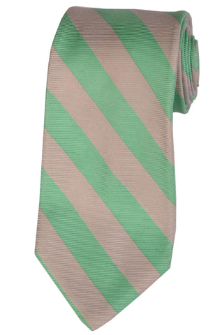 KITON Napoli Hand-Made Seven Fold Gray-Green Textured Striped Silk Tie NEW - SARTORIALE - 1