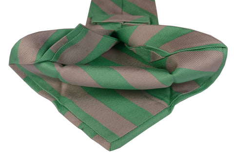 KITON Napoli Hand-Made Seven Fold Gray-Green Textured Striped Silk Tie NEW - SARTORIALE - 2