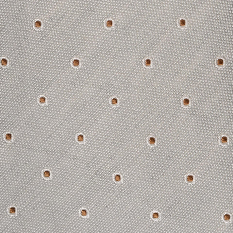 KITON Napoli Hand-Made Seven Fold Gray Dot Silk Tie NEW