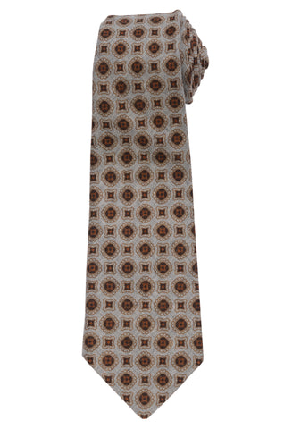 KITON Napoli Hand-Made Seven Fold Gray Circle  Medallion Wool-Silk Tie NEW