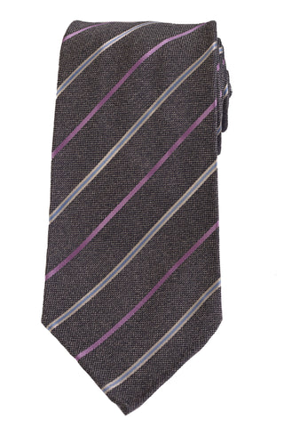 KITON Napoli Hand-Made Seven Fold Gray Diagonal Striped Unlined Silk Tie NEW - SARTORIALE - 1