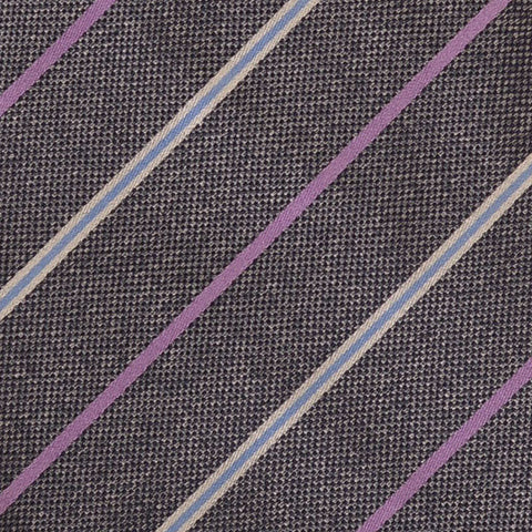 KITON Napoli Hand-Made Seven Fold Gray Diagonal Striped Unlined Silk Tie NEW - SARTORIALE - 4