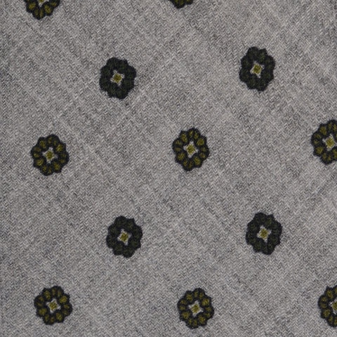 KITON Napoli Hand-Made Seven Fold Gray Floral Silk-Wool Tie NEW