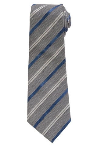 KITON Napoli Hand-Made Seven Fold Gray Narrow-Striped Silk Tie NEW