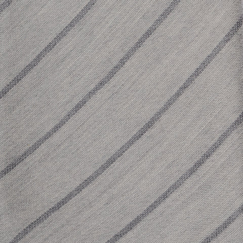 KITON Napoli Hand-Made Seven Fold Gray Narrow Striped Soft Silk Tie NEW