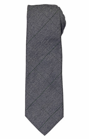 KITON Napoli Hand-Made Seven Fold Gray Plaid Silk Tie NEW