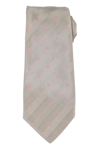 KITON Napoli Hand-Made Seven Fold Gray Polka Dot Silk Tie NEW