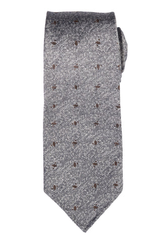 KITON Napoli Hand-Made Seven Fold Gray Silk-Cashmere-Cotton Unlined Tie NEW