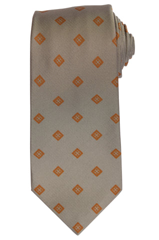 KITON Napoli Hand-Made Seven Fold Gray Square Medallion Silk Tie NEW