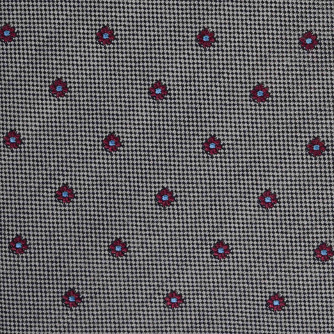 KITON Napoli Hand-Made Seven Fold Gray Small Floral Silk Tie NEW