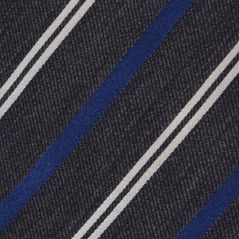 KITON Napoli Hand-Made Seven Fold Gray Striped Silk Tie NEW