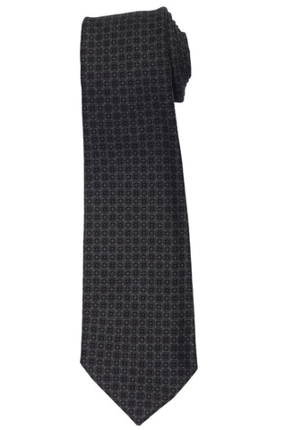 KITON Napoli Hand-Made Seven Fold Gray Wool-Silk Floral Tie NEW