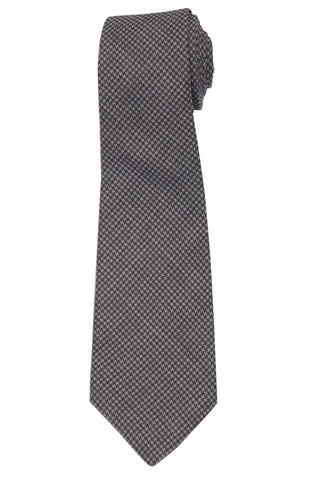 KITON Napoli Hand-Made Seven Fold Gray Wool-Silk Shepard Check Tie NEW