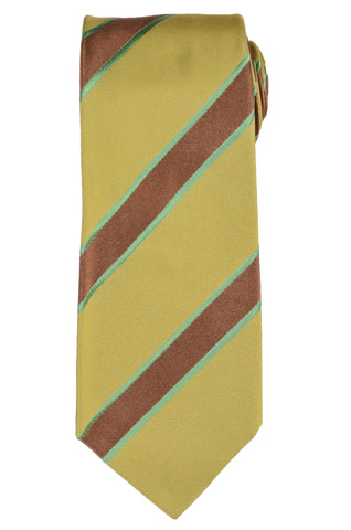 KITON Napoli Hand-Made Seven Fold Green-Brown Striped Silk Tie NEW